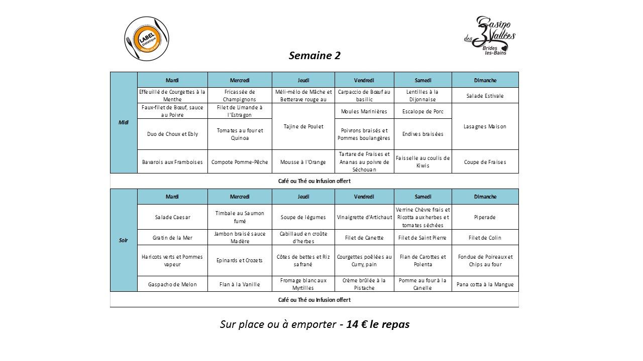 Nos menus di t tiques casino des 3 vall es for Menu dietetique